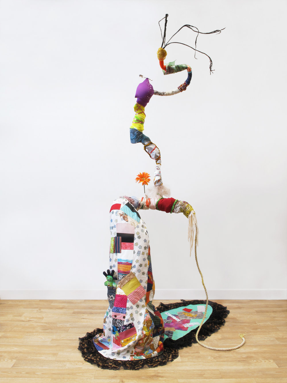 "Gina Herrera,  A Belle of Consequence , Assorted found materials, 76 x 44 x 47 inches   ""An assemblage of discarded and repurposed objects take on an antebellum feminine form."""