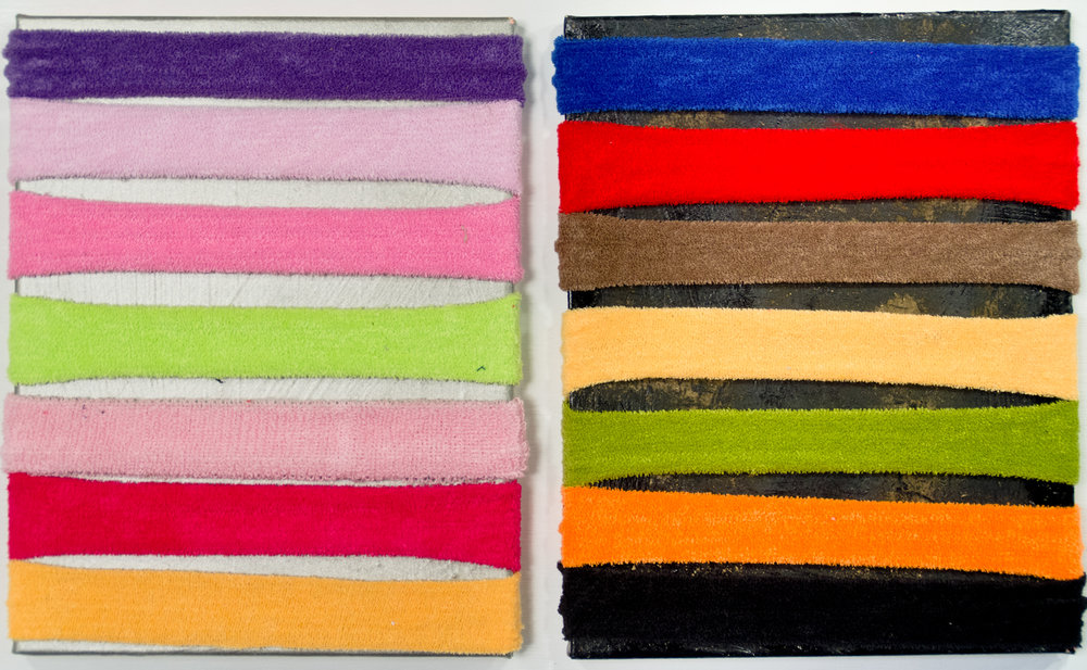 Luke Ahern, His & Hers, sweatbands, oil on canvas.