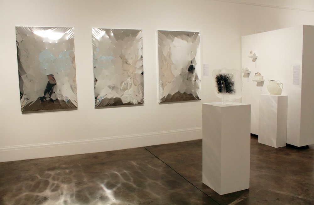 Thomas Flynn II, Installation view with  Inevitable Tension , Mylar, screws, and wood.