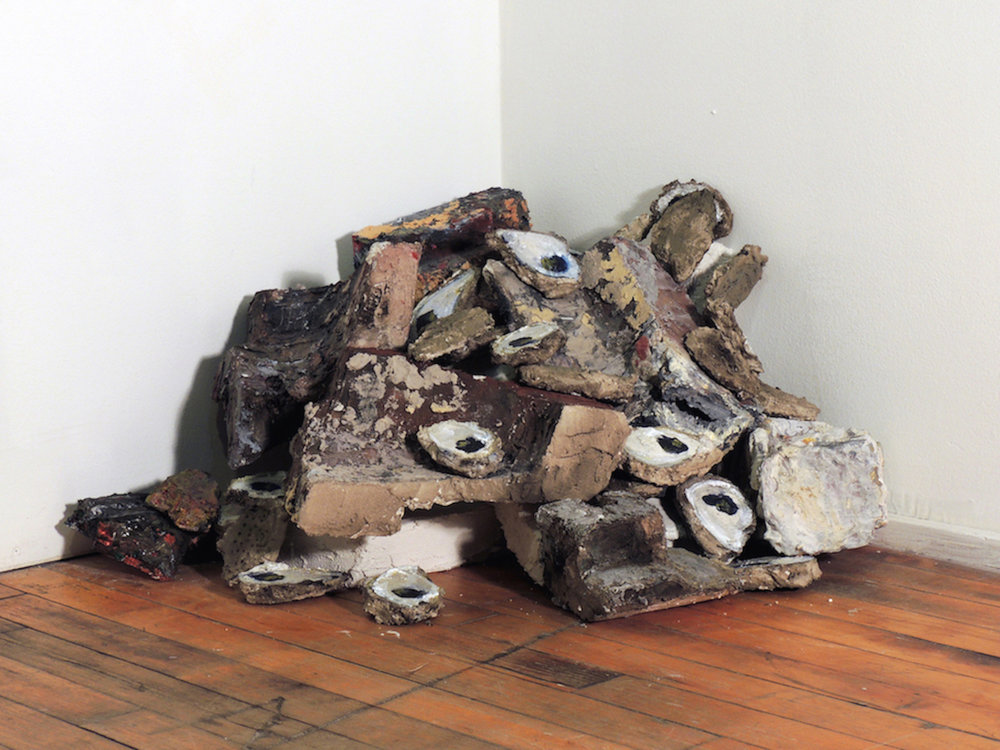 Nancy Wisti Grayson,  Oyster Shells and Rubble , Acrylic, graphite, mica, grout on recycled styrofoam, dimensions variable