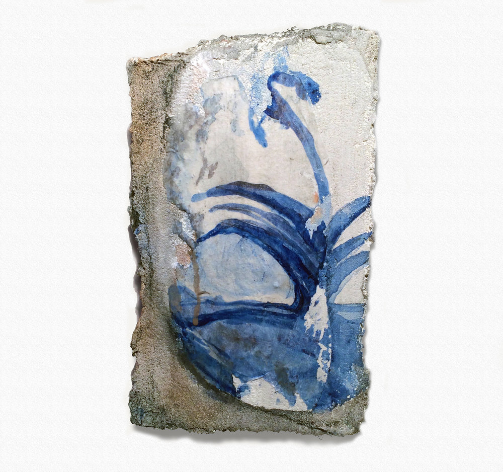 Nancy Wisti Grayson, Papyrus Tile, Acrylic, graphite, vellum, and grout on recycled styrofoam, 11 x 6.5 x 2.5 inches