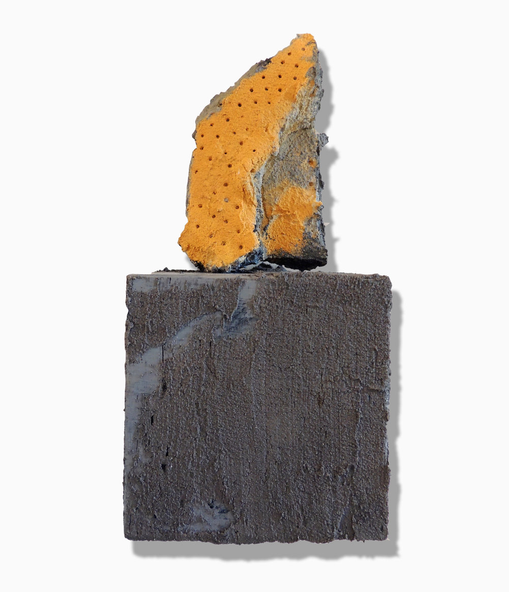 Nancy Wisti Grayson,  Found: San Clemente , Acrylic, graphite, house paint, grout, styrofoam on wood base, 8.5 x 3.5 x 3.5 inches