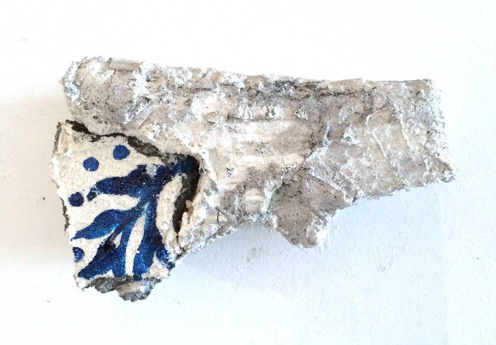 Nancy Wisti Grayson, Embedded Fragment: Branch (Mementos), Acrylic and grout on recycled styrofoam