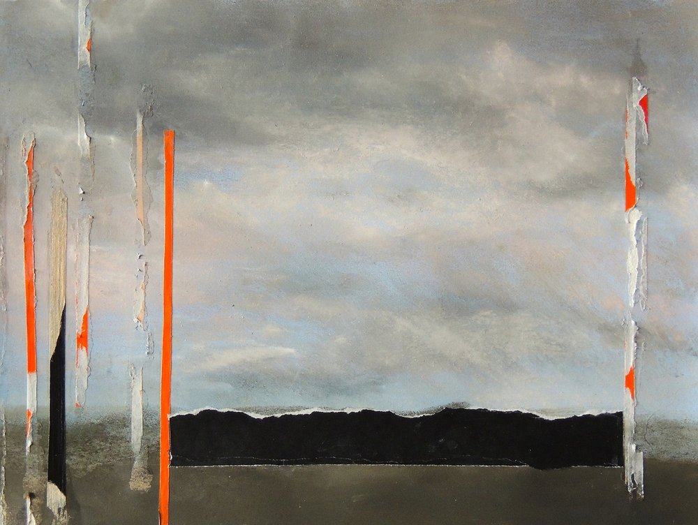 Nancy Wisti Grayson, Displaced Landscape: Departure, Pastel, graphite, origami paper on paper, 10.5 x 14 inches
