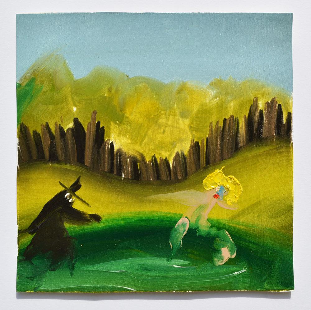 Jessamyn Plotts,  Human Nature ,oil on paper, 6 ½x 6 ½ inches