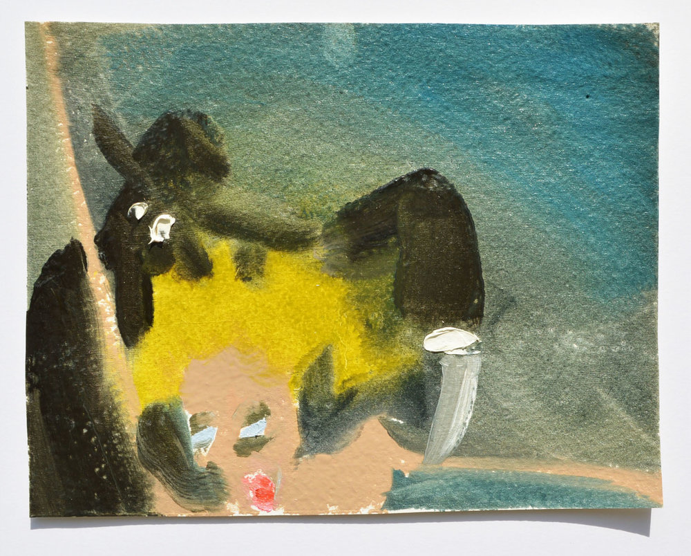 Witch Exorcism,  oil on paper, 4 ½ x 6 ½ inches