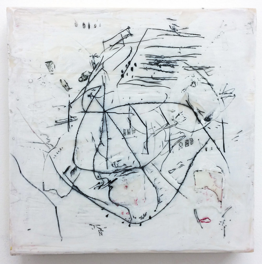 Waxing Adrift , encaustic and oil paint on panel, 10 x 10 inches, 2017