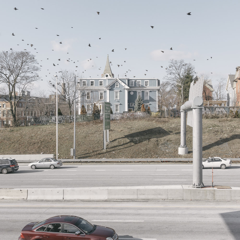 Peter Nicholson, untitled (blue house and birds over I95), Providence, Rhode Island, 2016