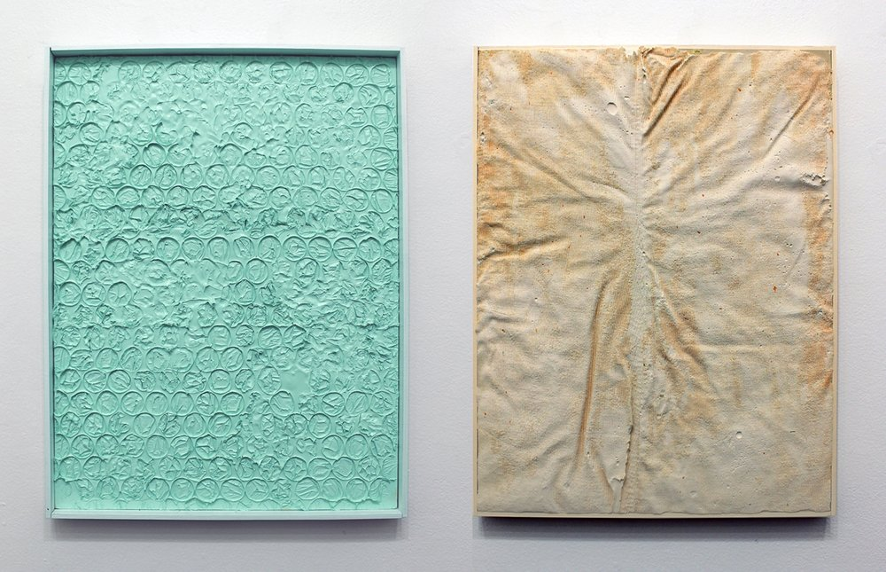 Sifting, plaster and latex paint on wood panel, 24 x 18 inches (each)