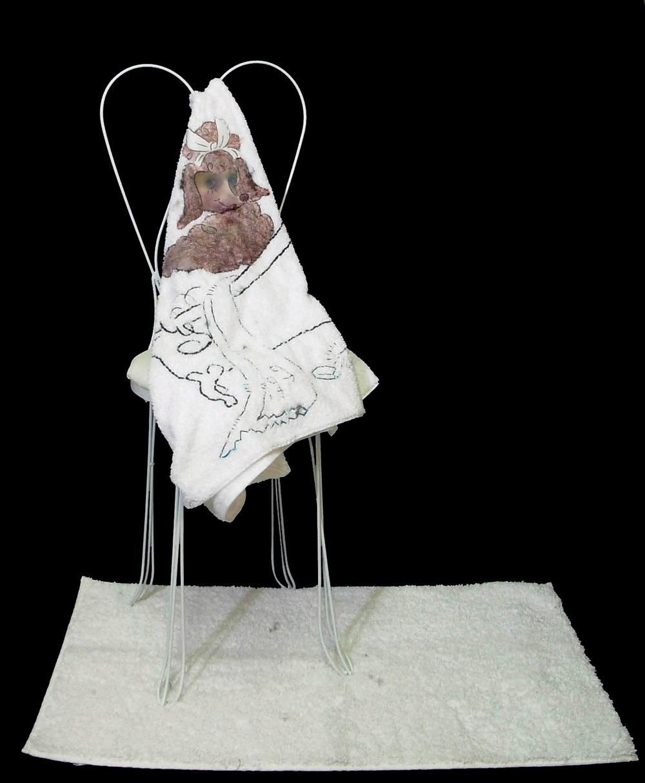 Saturday's Poodle, 2007, Digitally printed silk, mixed fabrics, welded steel, motor, sensor, 43 x 17 x 18 inches