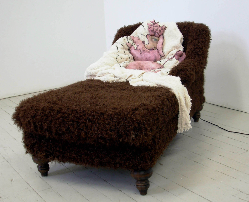 Friday's Poodle, 2008, Digitally printed silk, mixed fabrics, chaise lounge,motor, sensor, 26 x 57 x 28 inches
