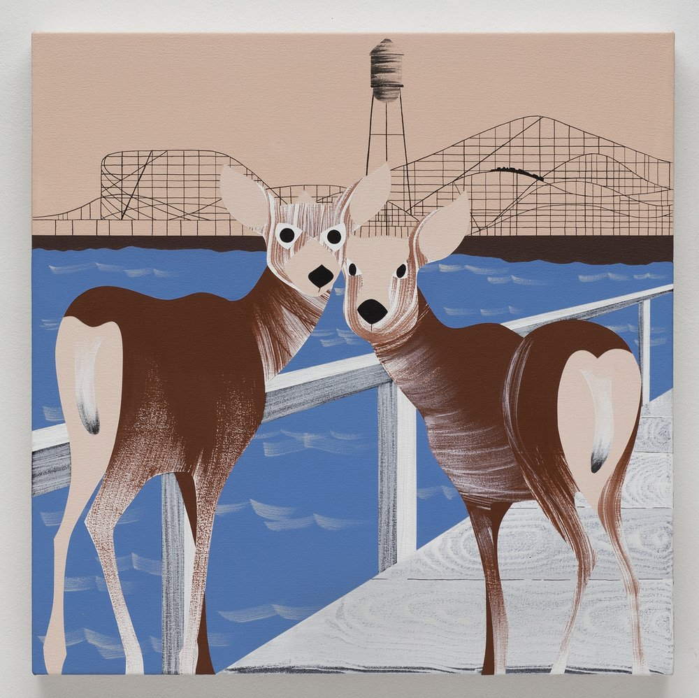 Deer, Pacific Ocean Park, acrylic on canvas, 24 x 24 inches, 2017