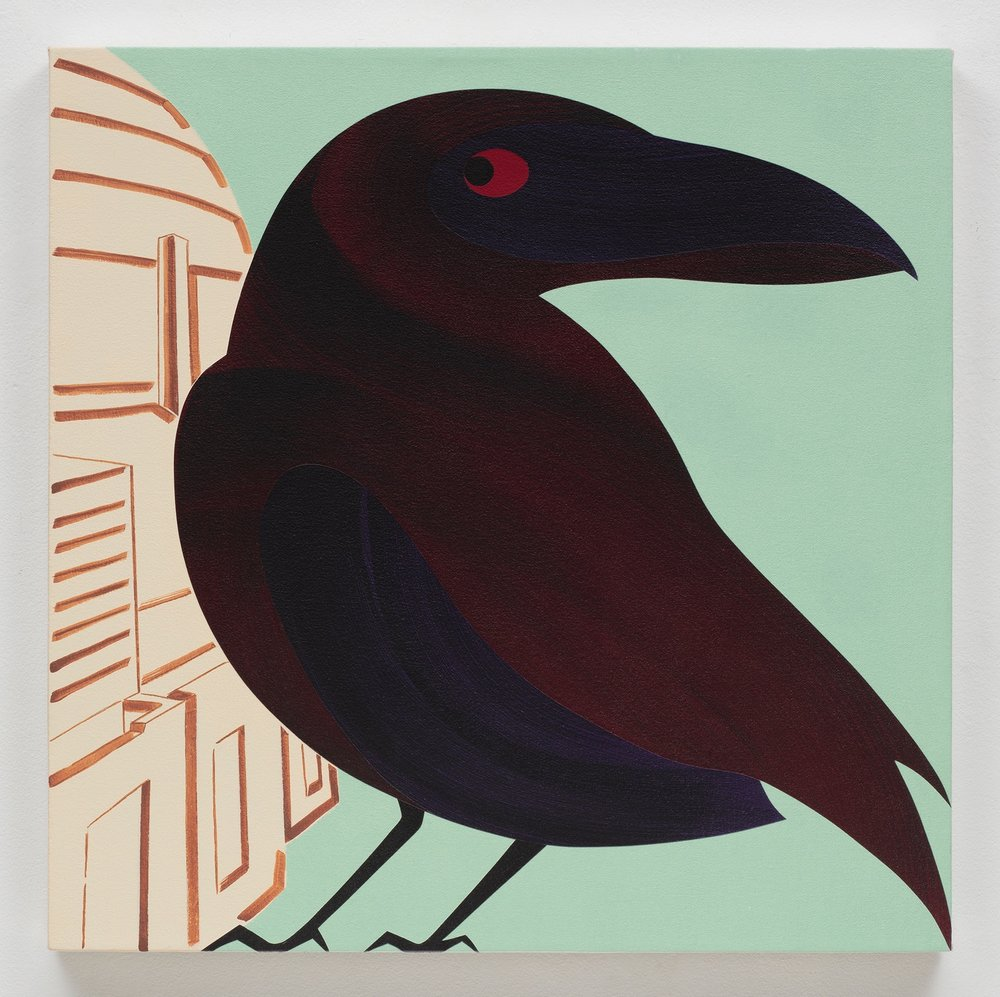 Raven, Griffith Observatory, acrylic on canvas, 24 x 24 inches, 2017