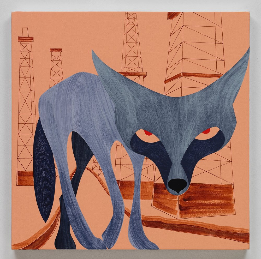 Coyote, Baldwin Hills, acrylic on canvas, 24 x 24 inches, 2017