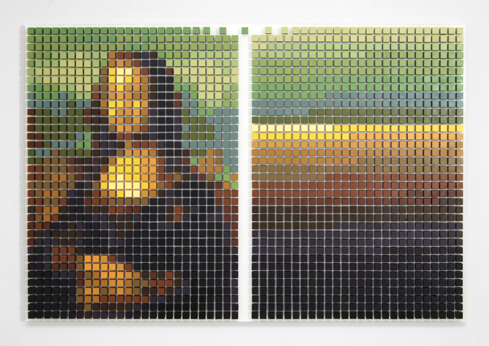 Tyler Bohm, Mona Lisa Defragged, acrylic on wood and Plexiglas, 23 x 35 x 2 inches