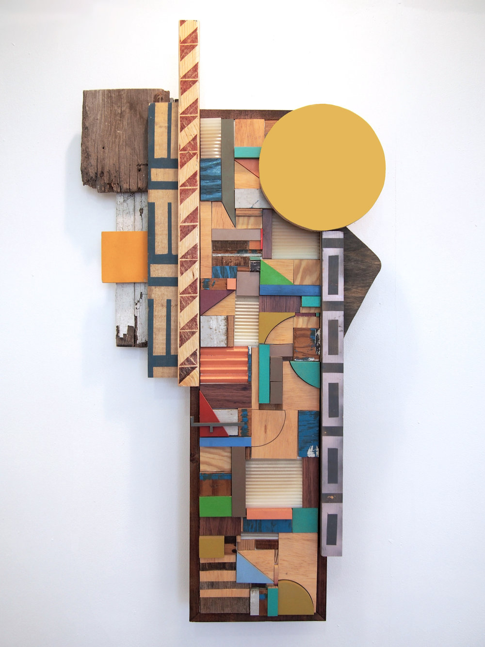 40x23x6 , wood, plastic, stain, acrylic paint, ink, 40 x 23 x 6 inches