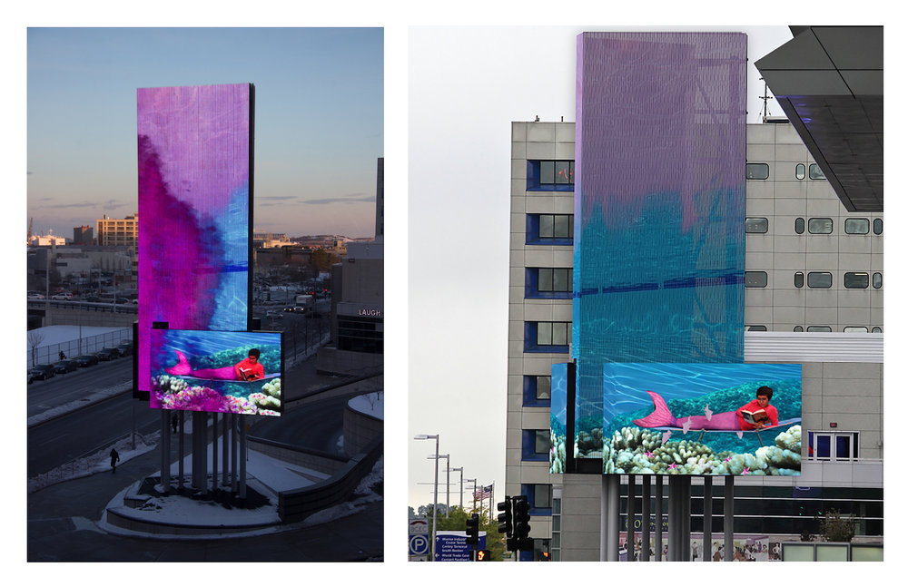 One Girl's Fantasy , Public art commission for Art on the Marquee, seven screen video installation, 80 x 24 feet, on display March 16, 2017 – April 19, 2017