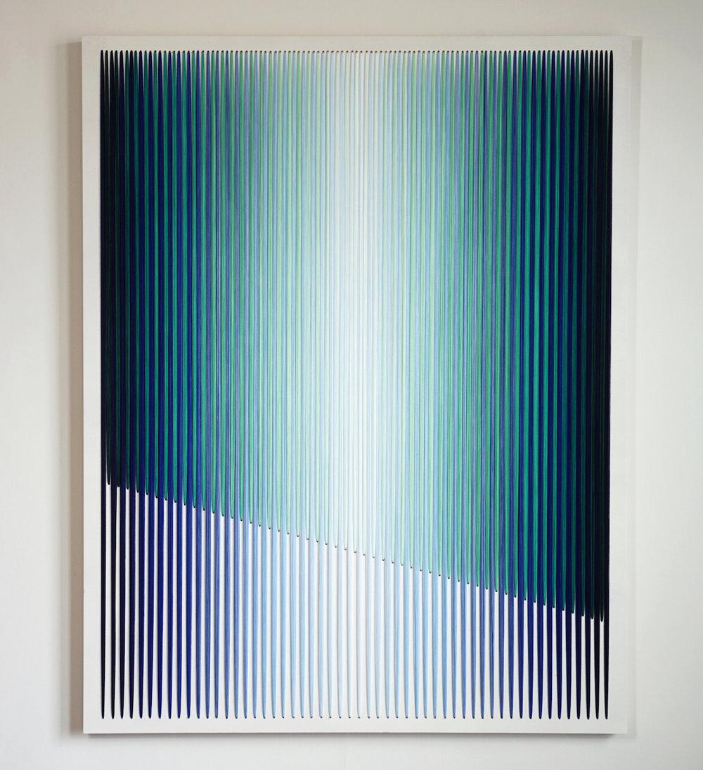 Rainy Season, thread and acrylic on wood panel, 46 x 36 inches, 2017