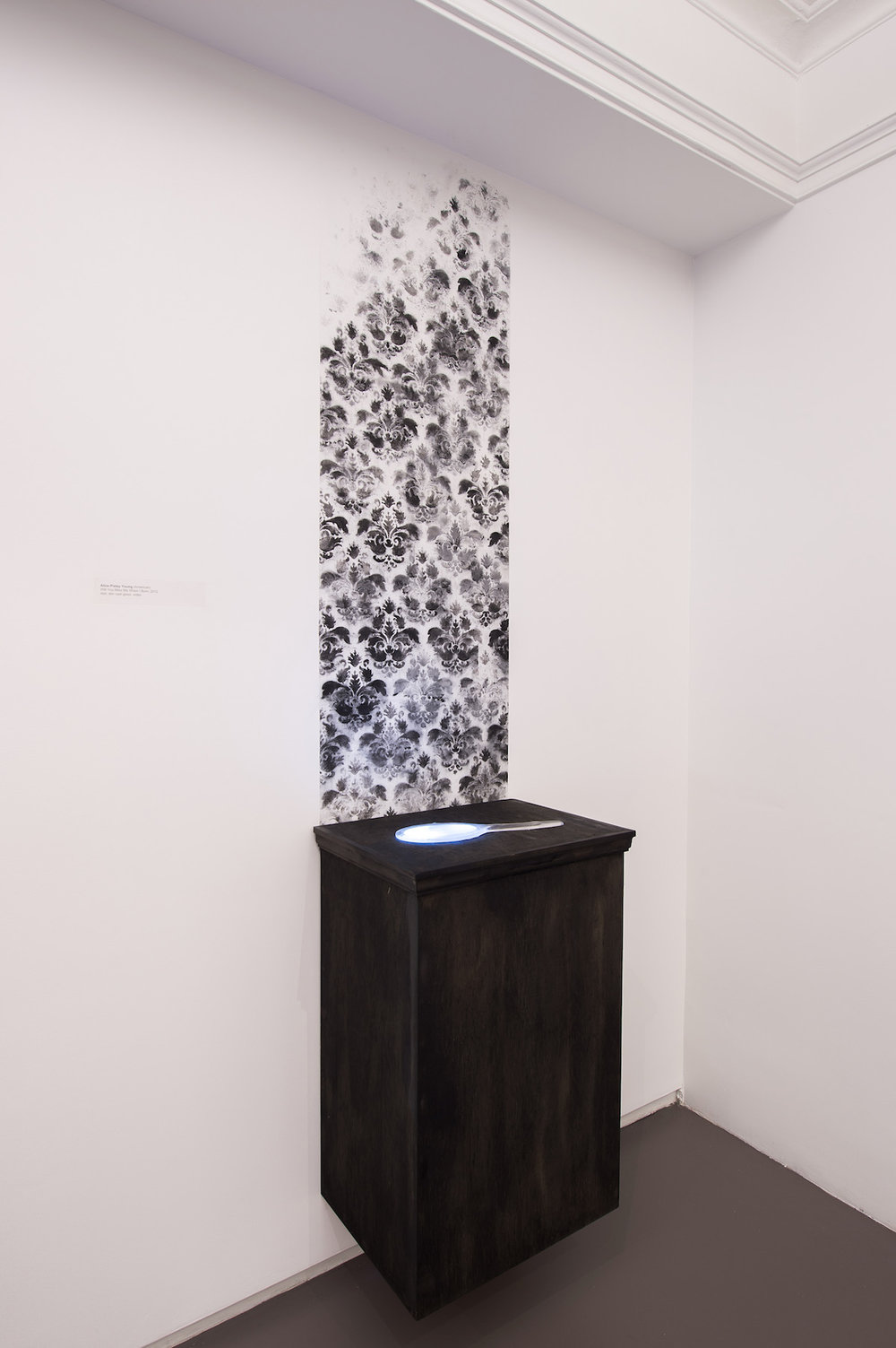 Will You Miss Me When I Burn  (21c Museum Hotel, Cincinnati, OH and Louisville, KY), Ash, kiln cast glass, video, wood, 108 x 24 x 12 inches, 2014