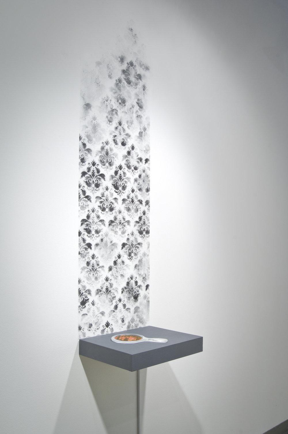 Will You Miss Me When I Burn  (Art Academy of Cincinnati), Ash, kiln cast glass, video, wood,2012