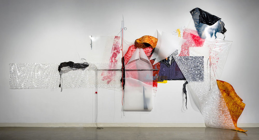 Gelah Penn,  Situations  (2017), Plastic tarps, foam rubber, lenticular plastic, Denril, plastic garbage bags, polyethylene sheets, stainless steel Choreoys, black foil, mosquito netting, latex & silicone tubing, mosquito netting, metal rods & staples, acrylic paint, rubber ball, upholstery & T-pins; 132 x 432 x 365 inches; Amelie A. Wallace Gallery, SUNY College at Old Wesbury, Old Westbury, NY. All photos Dave Clough Photography and Etienne Frossard