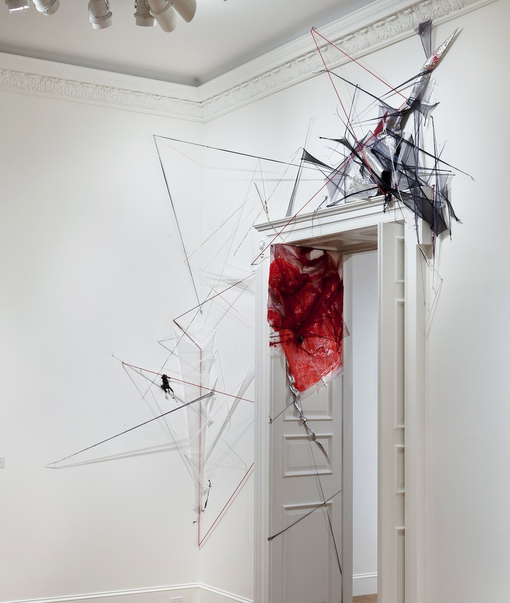 Where the Sidewalk Ends  (2012), Mosquito netting, plastic tarp, silicone & vinyl tubing, aluminum insulation, acrylic, t-pins; Dimensions variable. National Academy Museum Invitational, New York, NY