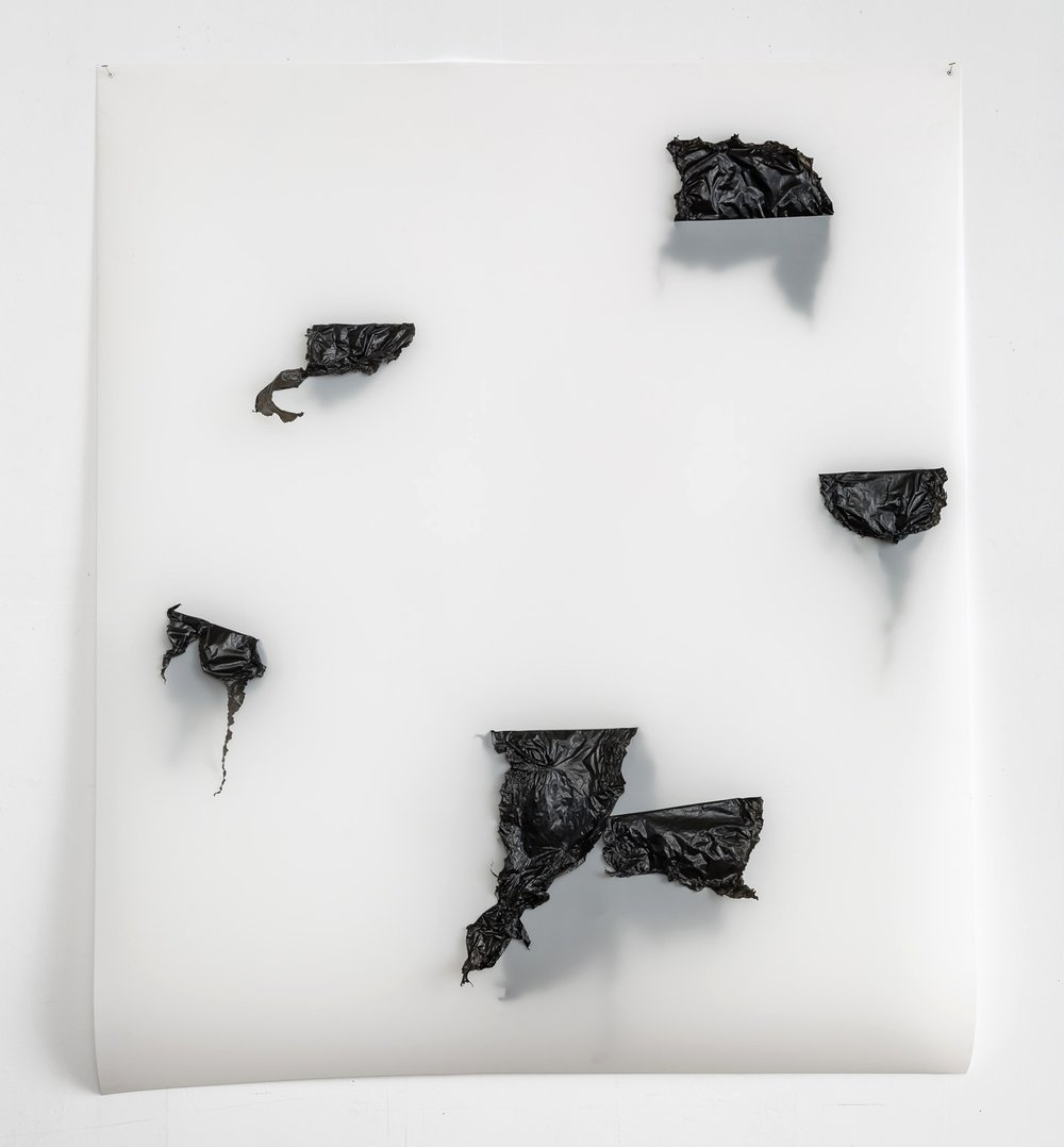Sliced Polyglot #3  (2016); Plastic garbage bags, metal staples & eyelets on Mylar; 49.5 x 42.5 x 3 inches