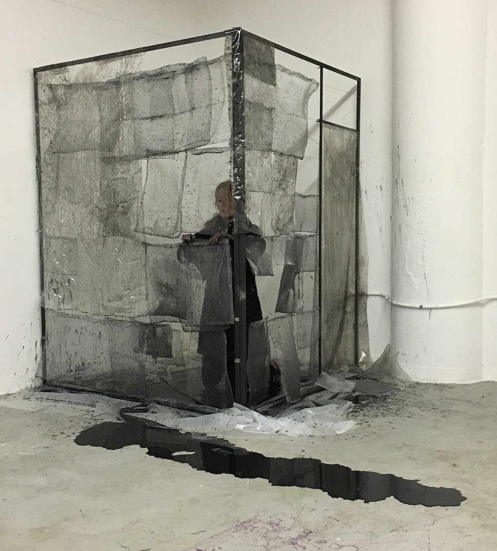 Julia Betts,  Window Screens , durational performance with ink, steel, and window screens,3:30, Rhode Island School of Design, 2016