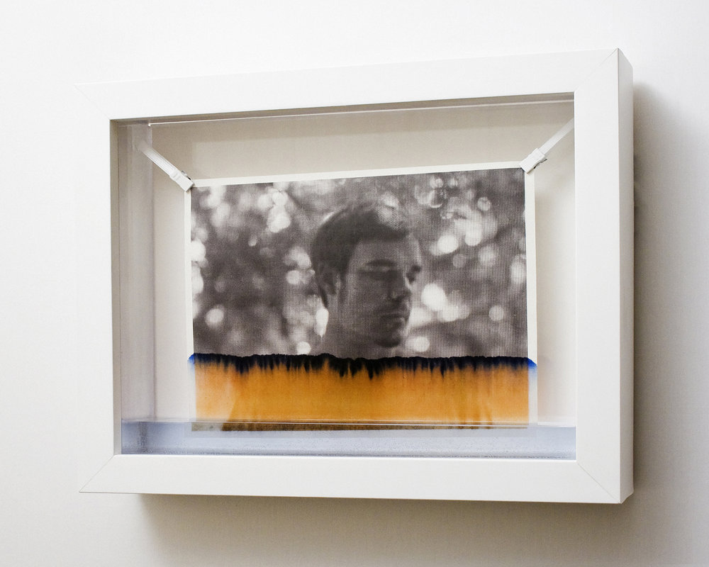 Sara Fields,  Primary Other no. 2 , photograph on rice paper being slowly erased by water