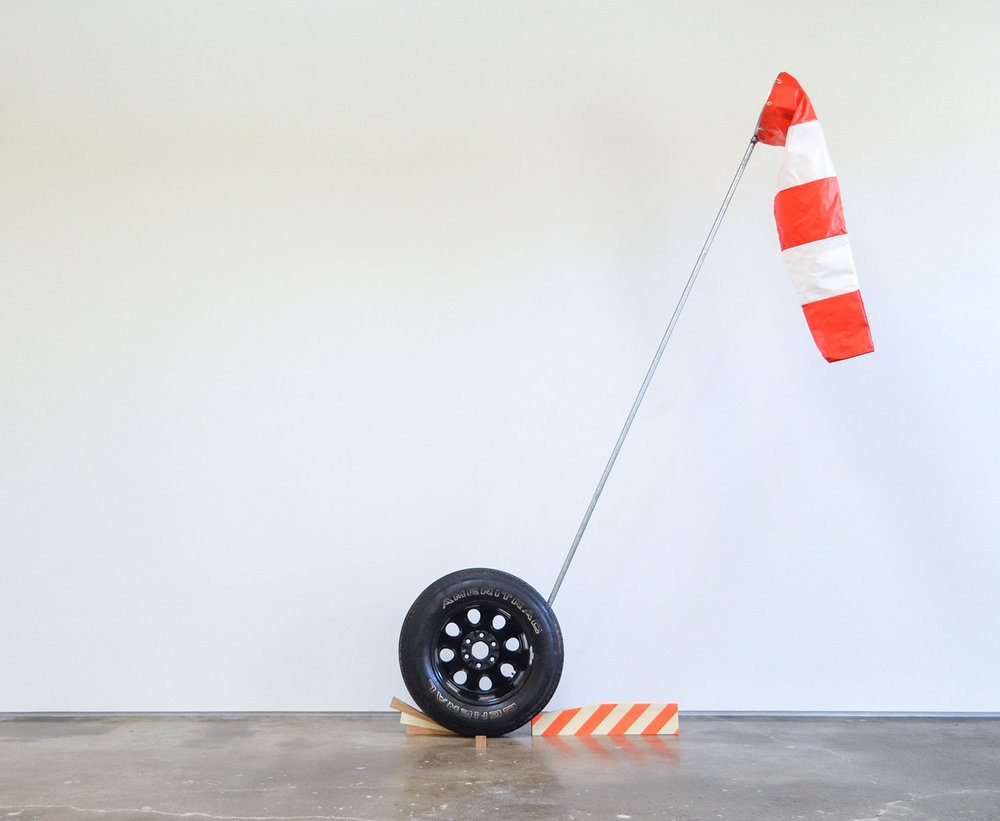 Ryder Richards,  American Sculpture: Indicator , Windsock, tire, wood, acrylic, pole, 10 x 4 x 3 feet, 2017