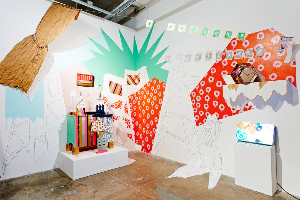 Julie Alpert,  Look-Alikes;  Site-specific installation with house paint, acrylic, marker, tape, paper, vinyl, cardboard, altered furniture, lightbox, and string; SOIL Gallery, Seattle, Washington; 10 x 6 x 10 feet; 2014. Photo: David Wentworth