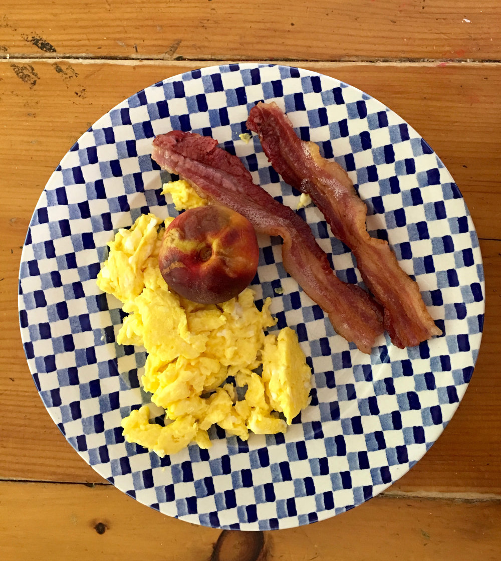 Meredith's Breakfast: local bacon, eggs, & nectarine