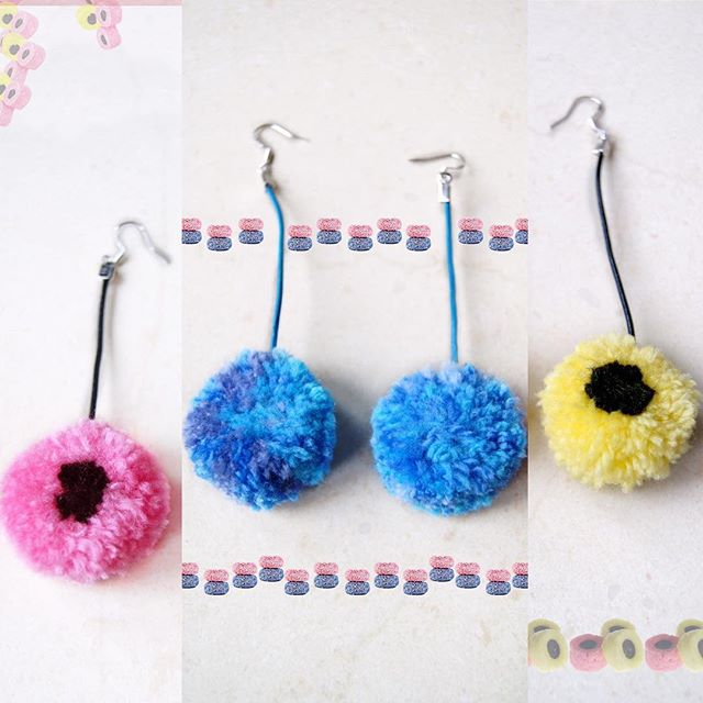 Yummy! 'liquorice allsorts' earrings  #nadderzique_textile_design