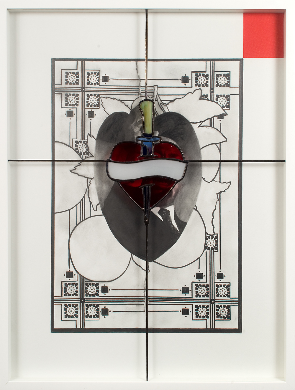 "no.1- Untitled (M.L. King)  pencil on paper, stained glass, 21""x28""/ 53cmx71cm,            2007/08"