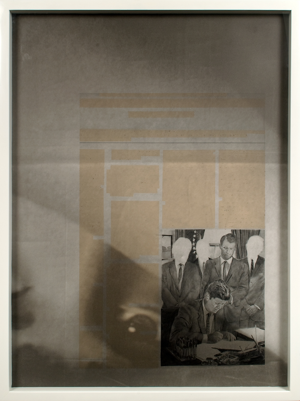 no.6- Untitled (J.F. Kennedy & R.F. Kennedy) pencil on paper, ink jet print,  2007/08