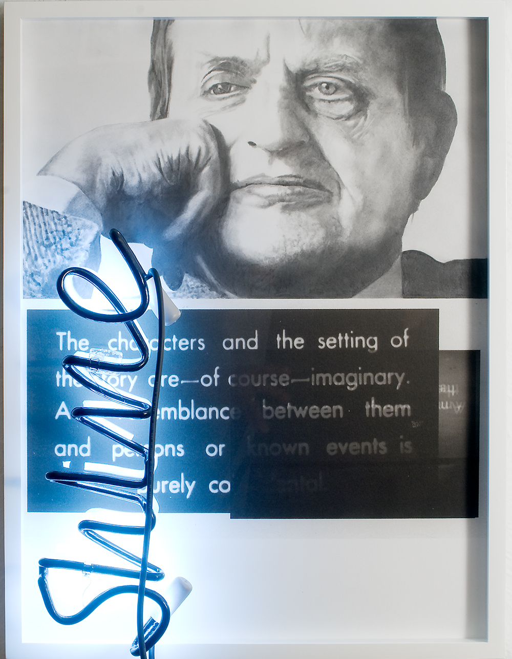 "no.8- Untitled (Olof Palme) pencil on paper, ink jet print, neon, 21""x28""/ 53cmx71cm 2007/08"