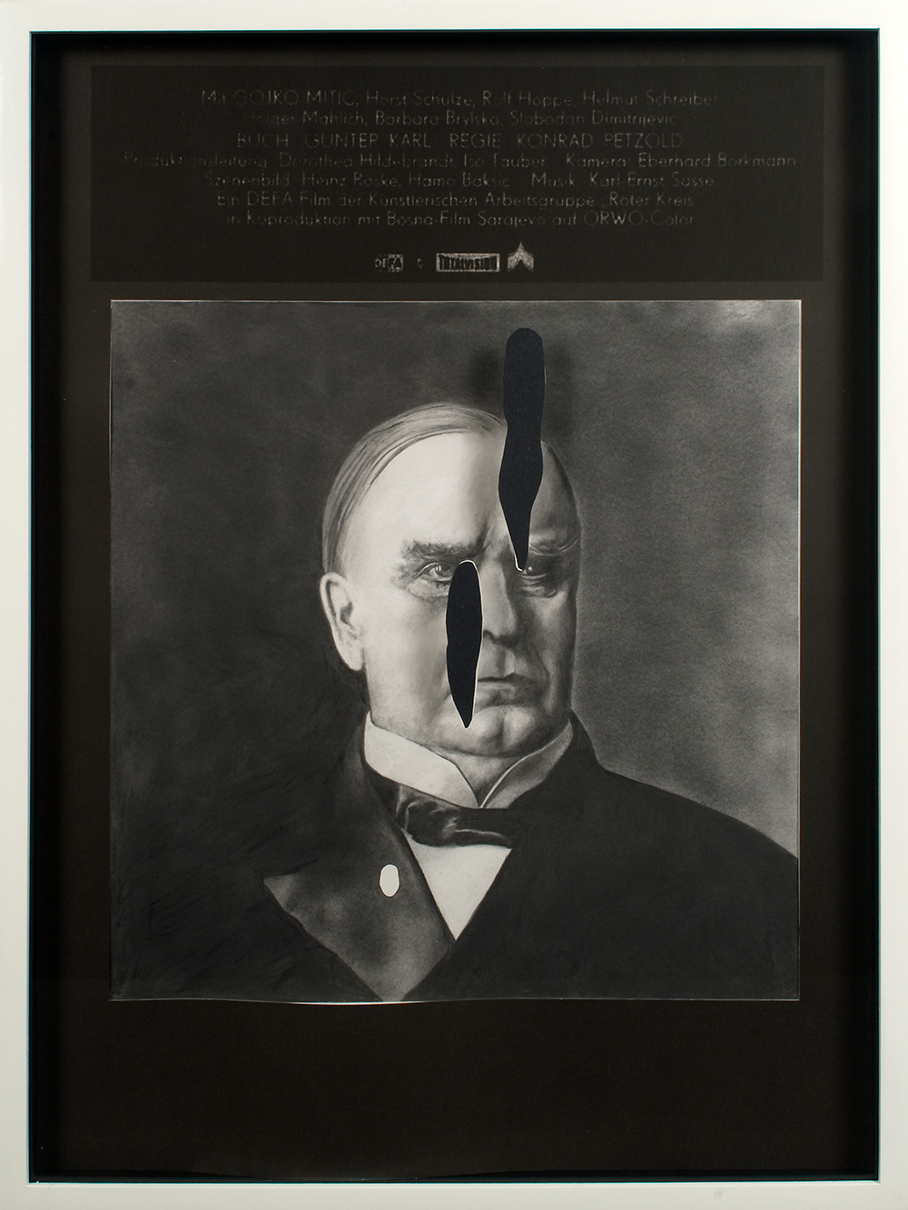 "no.13- Untitled (William McKinley) pencil on paper, ink jet print, collage, 21""x28""/             53cmx71cm, 2007/08"