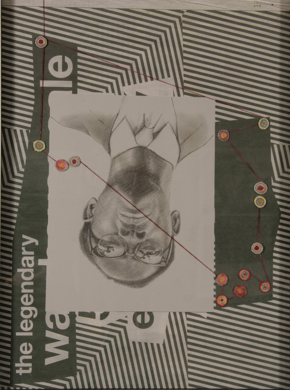 "no.44- Untitled (Lumumba), pencil on paper, ink jet print, collage, 21""x28""/ 53cmx71cm,               2008"
