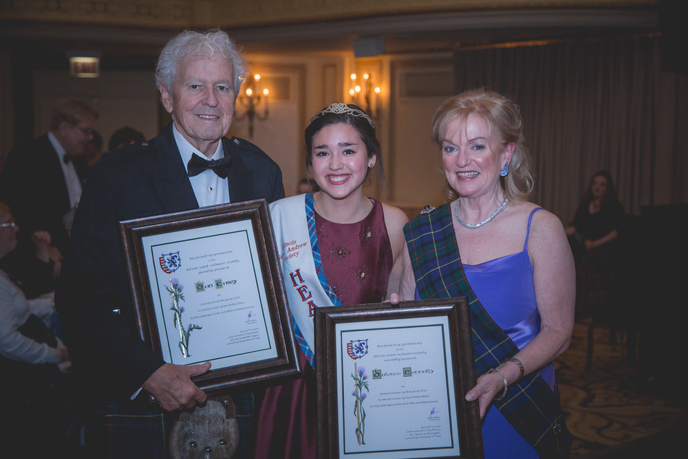 Dan & Dolores accepting their awards alongside the Heather Queen at the 2015 Feast of the Haggis.
