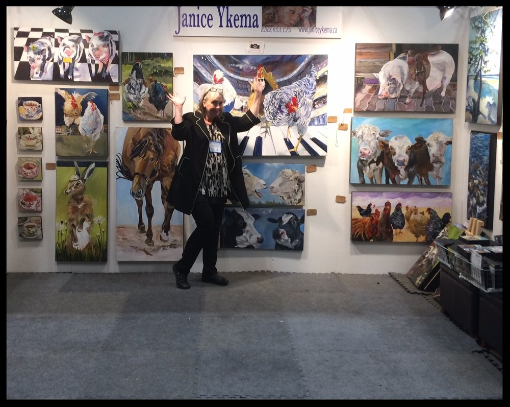 Above you see  Artist Janice Ykema  in her booth at the  Royal Agricultural Fair .