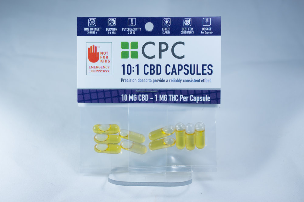High CBD   All of the High CBD products have more CBD than THC. Products such as the 10:1 CBD/THC capsules and 4:1 CBD/THC suppository are ideal for those sensitive to THC. CPC patients with inflammation and anxiety designed these products to be taken on their own, or combined them with Red, Blue, and Black line products to create custom ratios.   Learn more...