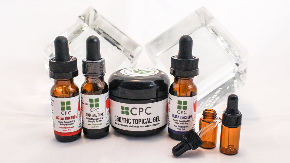 Cannabis infused topical gel and tincture by The CP with crystal awards.jpg
