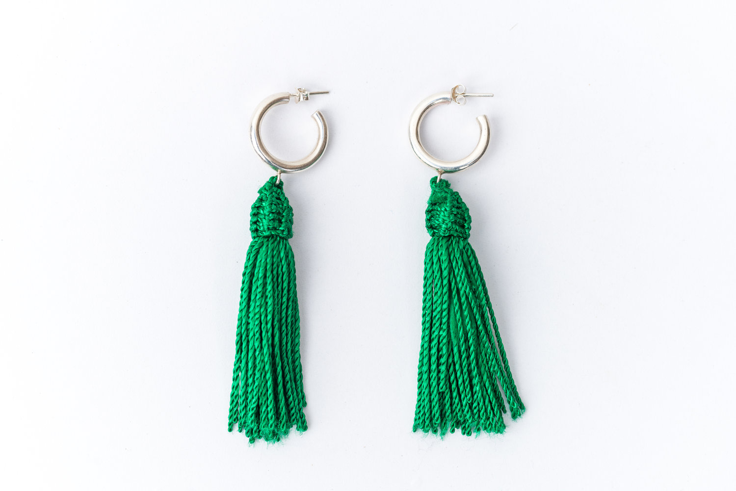 combination boll golden beads chain green earrings with