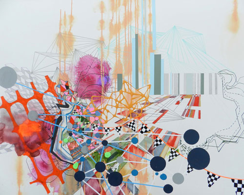 Heather Patterson, Connect, 2014. Mixed media on paper, 22 x 30 inches.