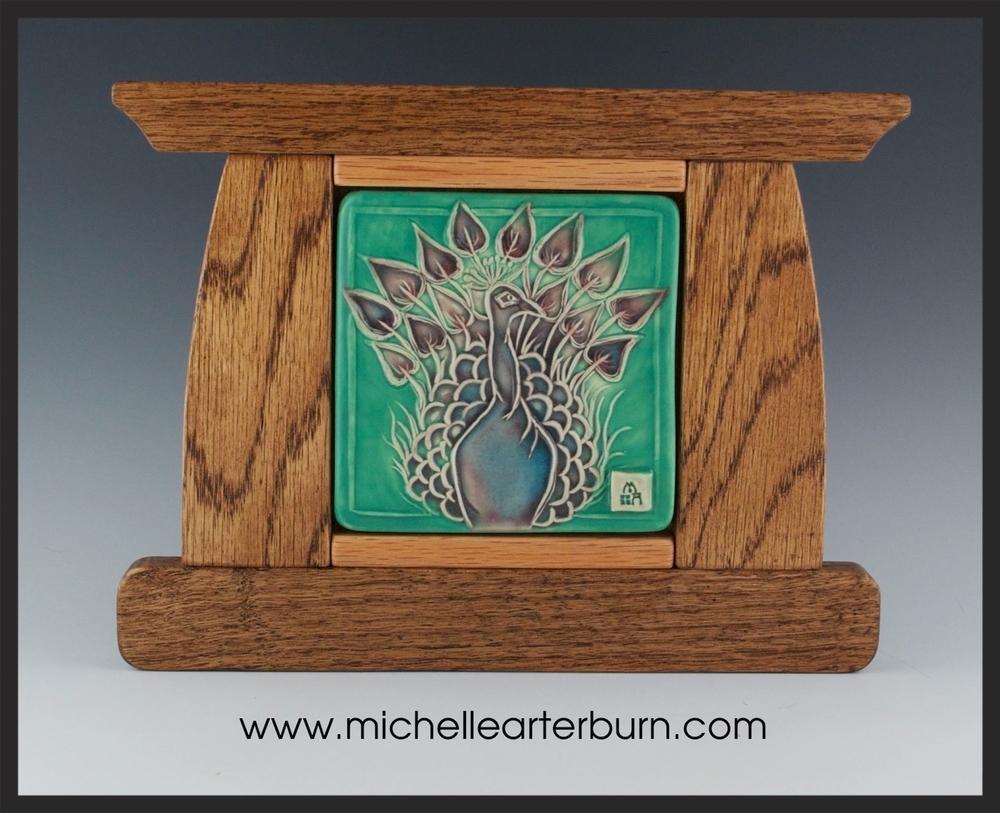 Peacock - Framed Tile