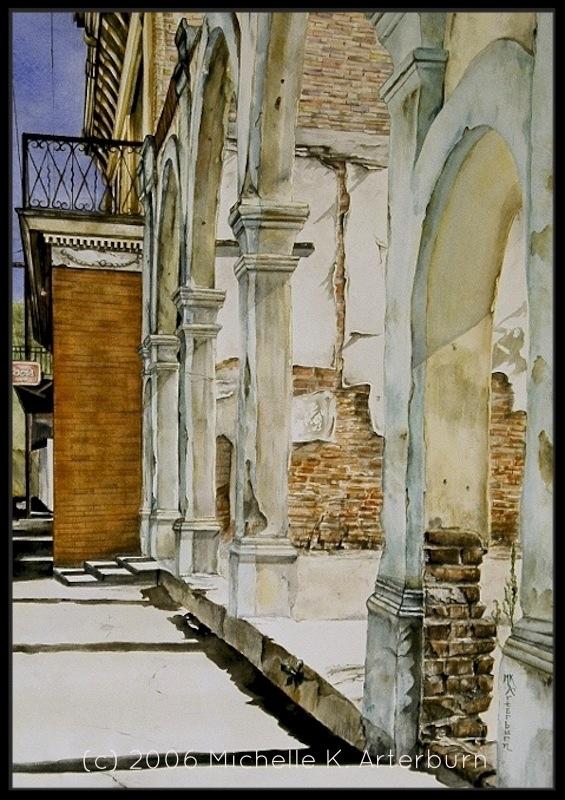 """""""Morenci Queue"""" - Watercolor/ink"""