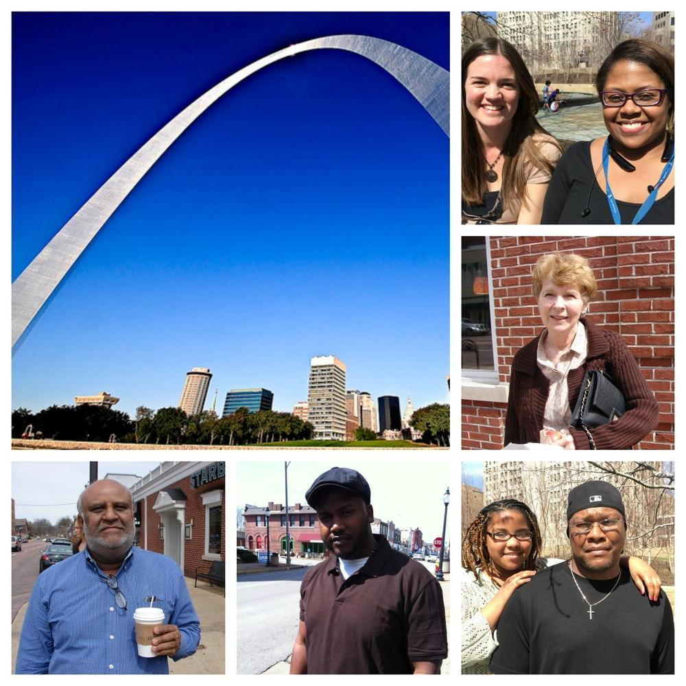 Image: From bottom left: St. Louis area residents Bala Anant, Will Johnson, Derrick Hopgood and his daughter Skylyn. Anne Cody, Lisa Heimberger and Brandy Bold. (Photo of Gateway Arch from Francisco Diez | Flickr; Additional photos from Joseph Leahy and Kaitlyn Petrin | St. Louis Public Radio)