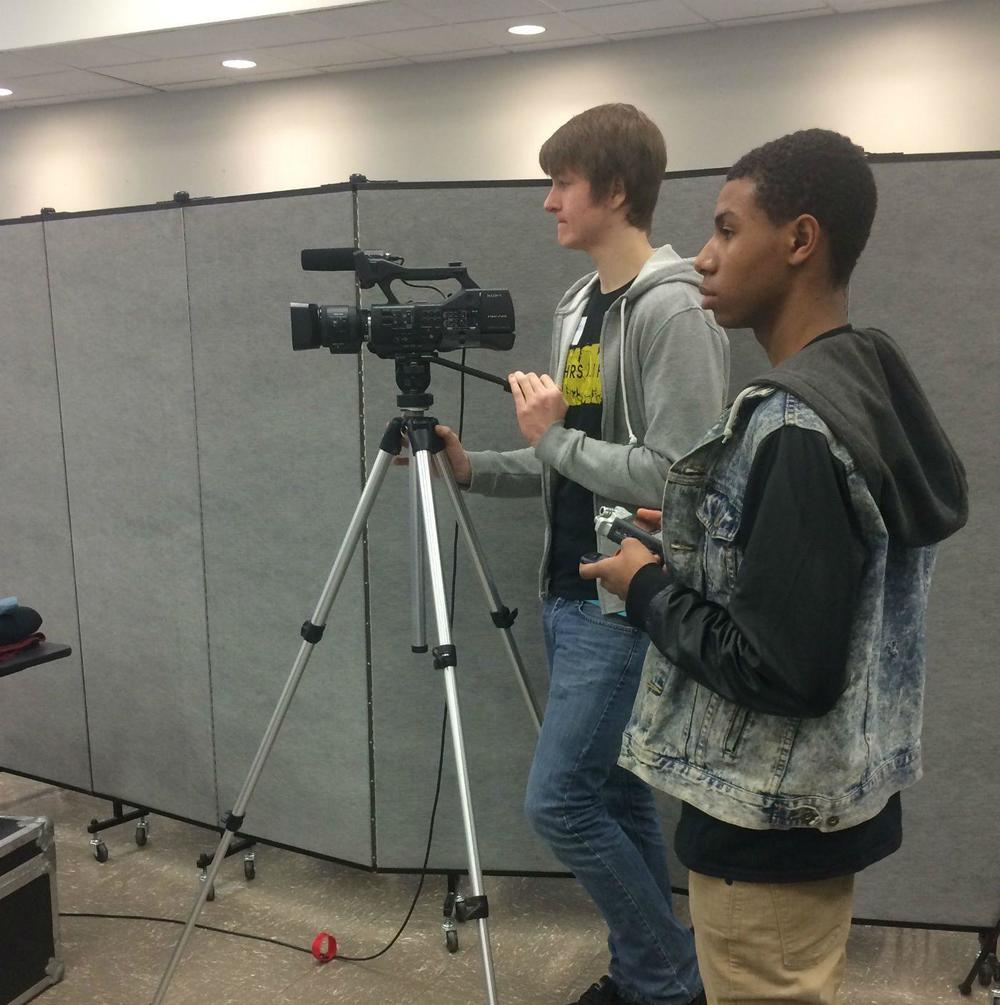 Will Rivers and Brandon King during their first reporting trip to cover a Ferguson Commission meeting at the Florissant Valley campus of St. Louis Community College that focused on youth issues. Courtesy Jane Bannester | Ritenour High School