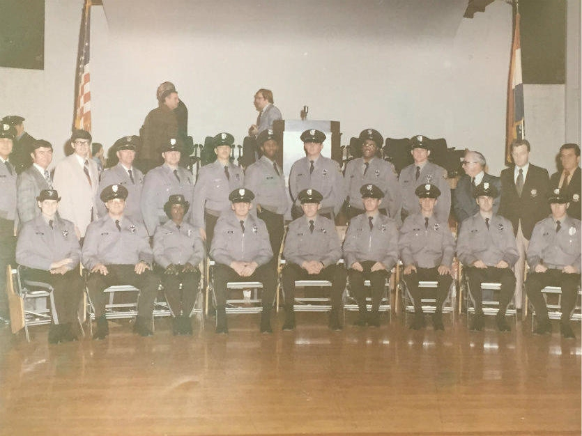 Morris Taylor, seventh from the left, along with future members of the St. Louis County Police Department. This photo is from Taylor's graduation day from the police academy in 1975. COURTESY OF MORRIS TAYLOR.