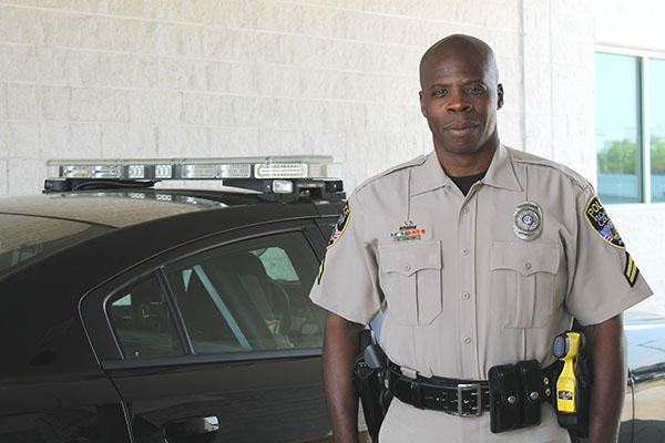 Cpl. Greg Santoni works for the St. Charles Police Department. He says he treats everyone the same and, as a result, doesn't have any issues when it comes to race. RACHEL LIPPMANN | ST. LOUIS PUBLIC RADIO